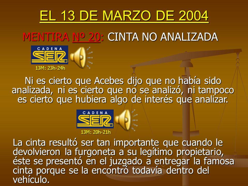 EL 13 DE MARZO DE 2004 MENTIRA Nº 19: ACEBES OCULTÓ EL DATO DE LA MOCHILA 13M: 22h-23h 13M: 23h-24h Acebes no podía saber el primer día lo de la mochila sin explosionar, porque se encontró durante la noche (el 12M).