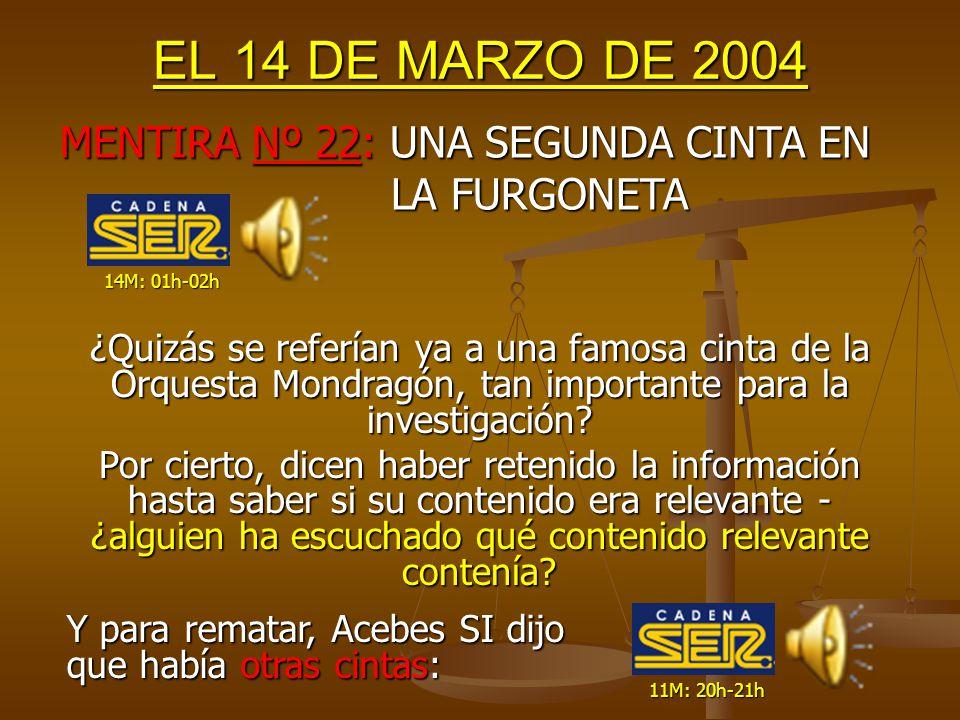 EL 14 DE MARZO DE 2004 Curiosa información, teniendo en cuenta que el video SE GRABÓ durante la misma tarde del día 13M y se recogió a las 20:30h ¿Sabía la SER ya por la mañana que se pensaba grabar.