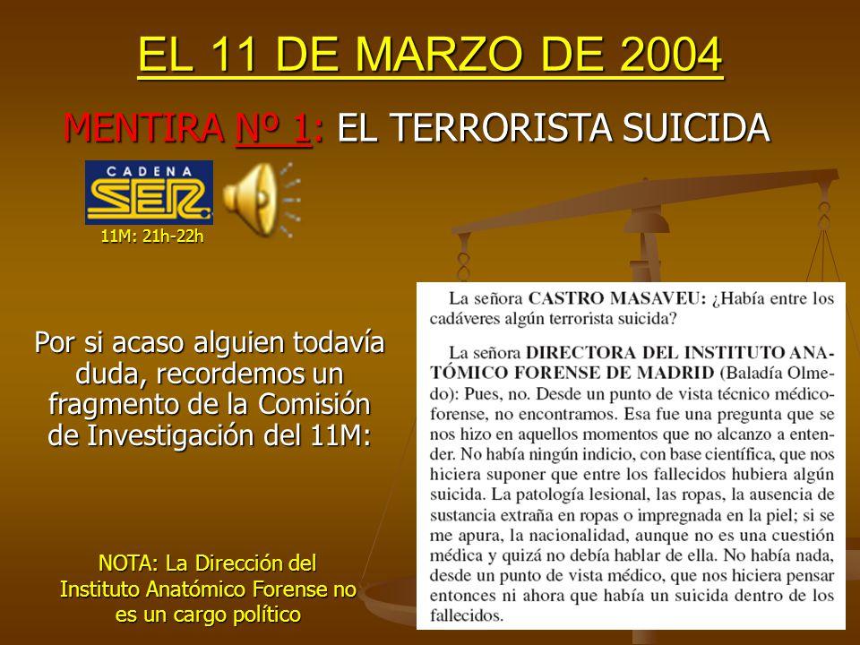 EL 11 DE MARZO DE 2004 Aquel fatídico día, el 99% de los Españoles, todos los líderes políticos (excepto Arnaldo Otegui) y TODOS los medios de comunicación pensaron que ETA era el principal sospechoso de los atentados.