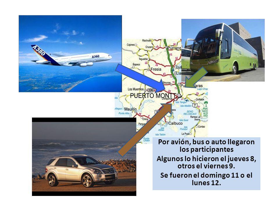 Por avión, bus o auto llegaron los participantes Algunos lo hicieron el jueves 8, otros el viernes 9.