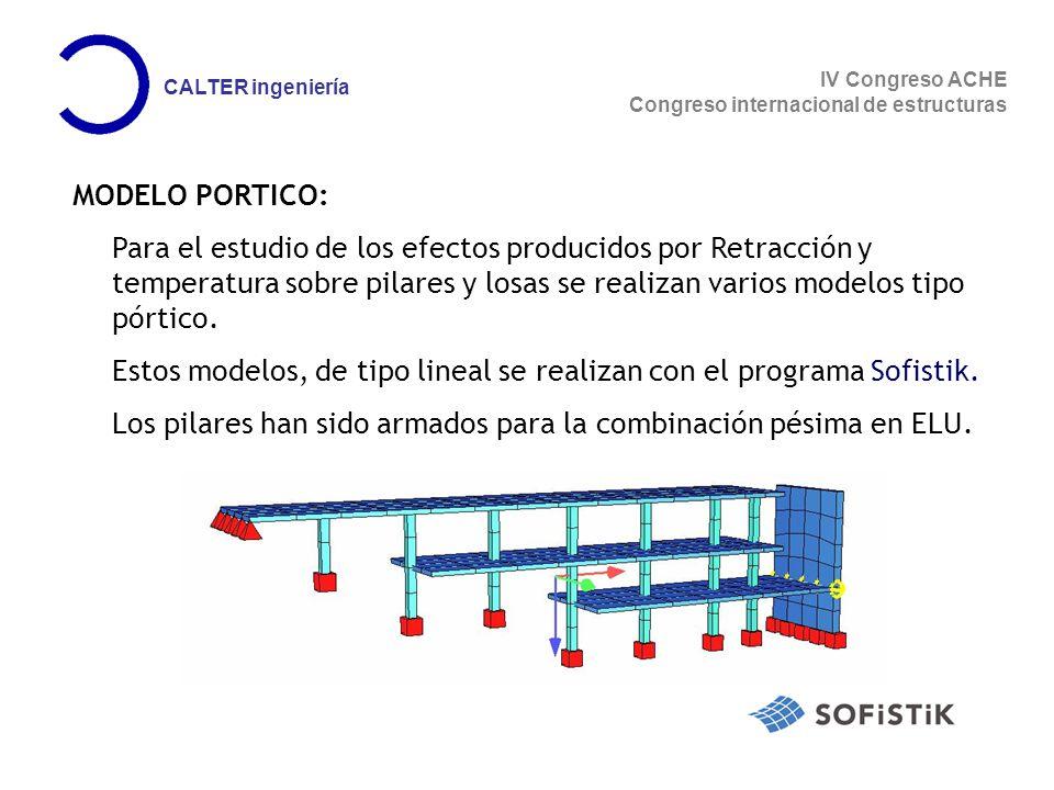 IV Congreso ACHE Congreso internacional de estructuras CALTER ingeniería MODELO PORTICO: Para el estudio de los efectos producidos por Retracción y temperatura sobre pilares y losas se realizan varios modelos tipo pórtico.