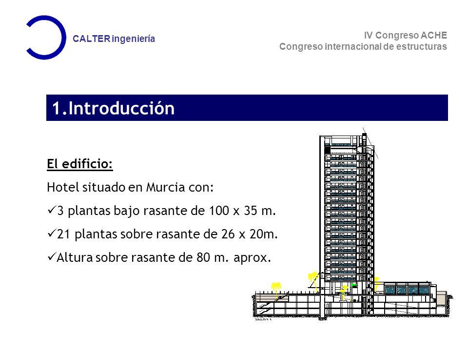 IV Congreso ACHE Congreso internacional de estructuras CALTER ingeniería 1.Introducción El edificio: Hotel situado en Murcia con: 3 plantas bajo rasante de 100 x 35 m.
