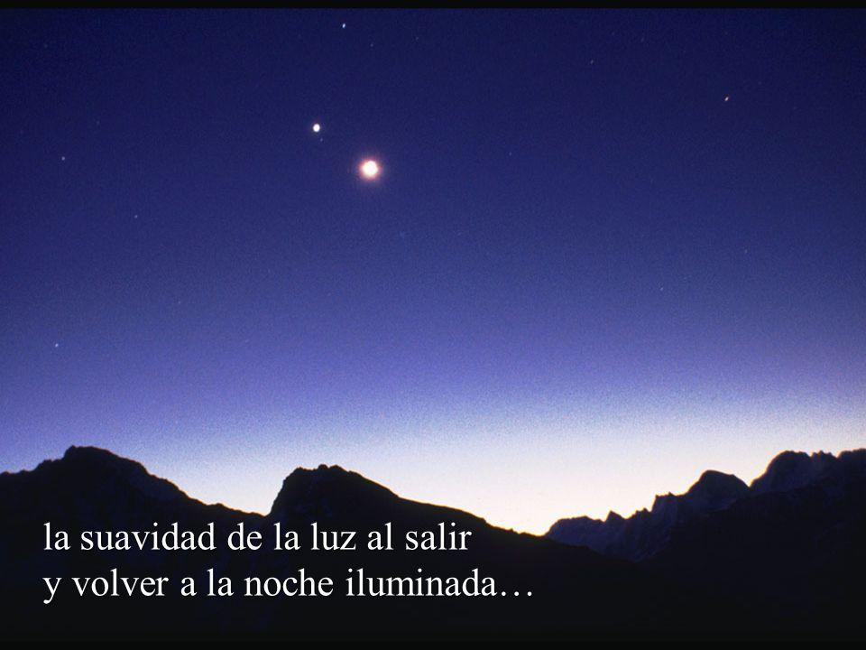 la suavidad de la luz al salir y volver a la noche iluminada…