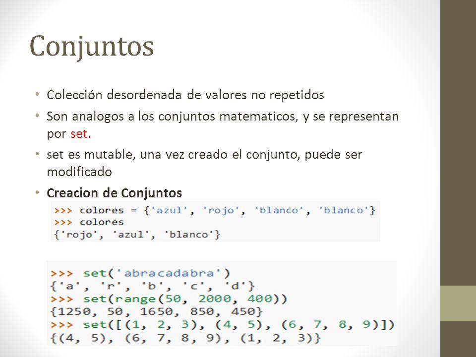 Colección desordenada de valores no repetidos Son analogos a los conjuntos matematicos, y se representan por set. set es mutable, una vez creado el co