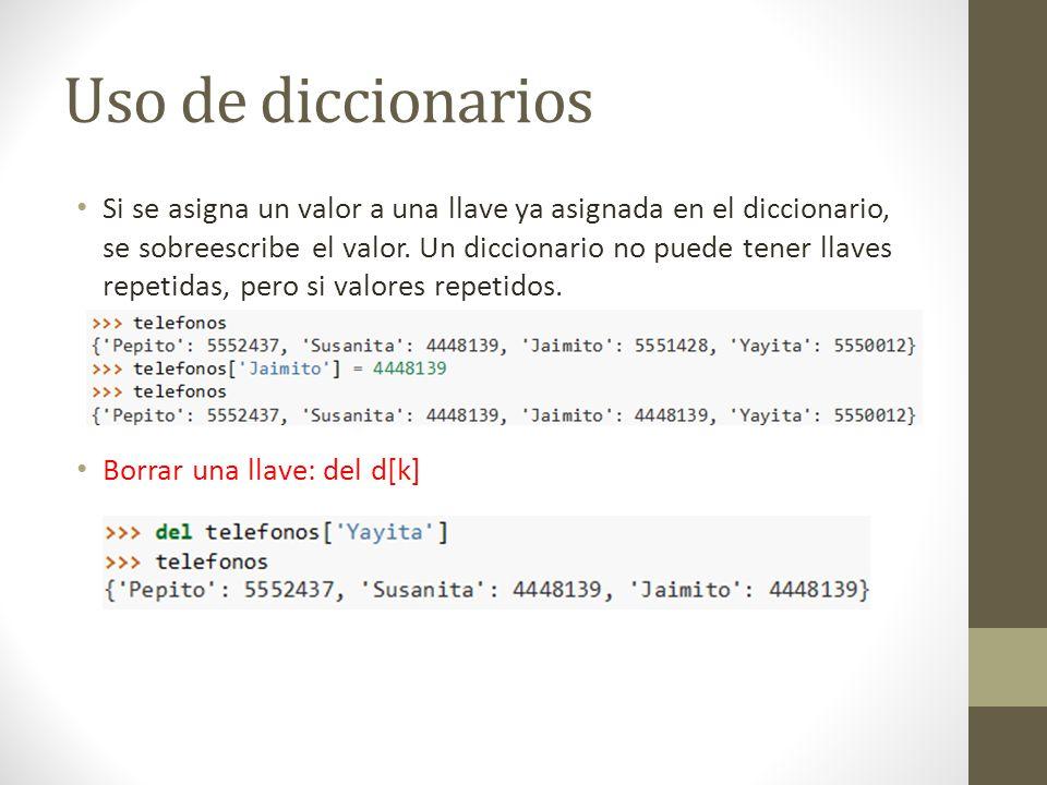 Operaciones sobre Conjuntos B.issuperset(a): si b es superconjunto de a B.issubset(a): si b es subconjunto de a s.discard(x): quita x del conjunto s s.clear(): quitar todos los elementos de s