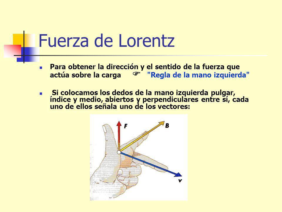 Fuerza de Lorentz Para obtener la dirección y el sentido de la fuerza que actúa sobre la carga Regla de la mano izquierda Si colocamos los dedos de la mano izquierda pulgar, índice y medio, abiertos y perpendiculares entre sí, cada uno de ellos señala uno de los vectores: