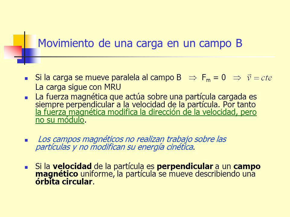 Movimiento de una carga en un campo B Si la carga se mueve paralela al campo B F m = 0 La carga sigue con MRU La fuerza magnética que actúa sobre una partícula cargada es siempre perpendicular a la velocidad de la partícula.