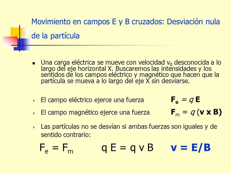 Movimiento en campos E y B cruzados: Desviación nula de la partícula Una carga eléctrica se mueve con velocidad v 0 desconocida a lo largo del eje hor