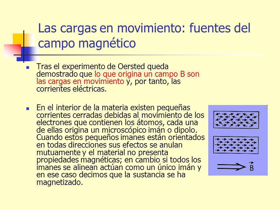 Las cargas en movimiento: fuentes del campo magnético Tras el experimento de Oersted queda demostrado que lo que origina un campo B son las cargas en movimiento y, por tanto, las corrientes eléctricas.