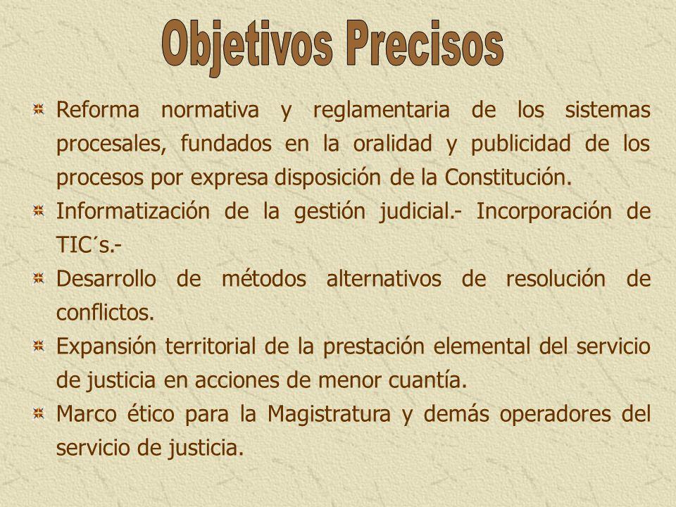 Reforma normativa y reglamentaria de los sistemas procesales, fundados en la oralidad y publicidad de los procesos por expresa disposición de la Const