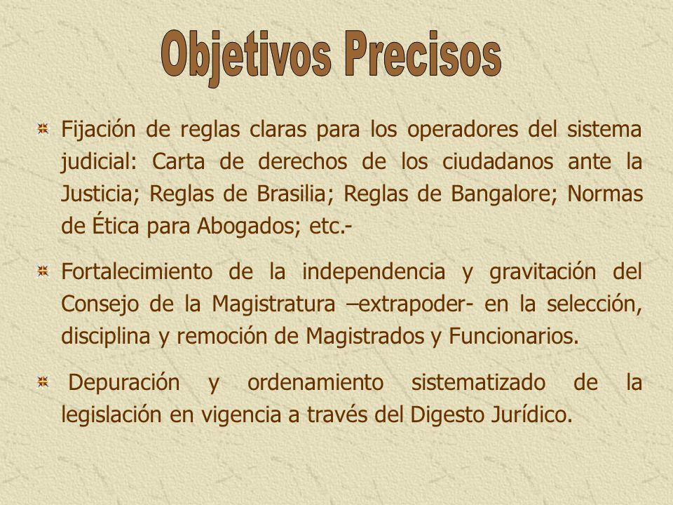 Fijación de reglas claras para los operadores del sistema judicial: Carta de derechos de los ciudadanos ante la Justicia; Reglas de Brasilia; Reglas d