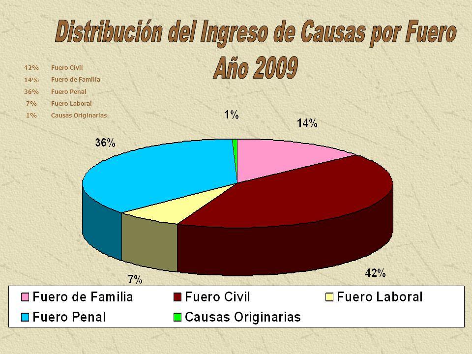 Fuero Civil42% Fuero de Familia 14% Fuero Penal 36% Fuero Laboral 7% Causas Originarias 1%