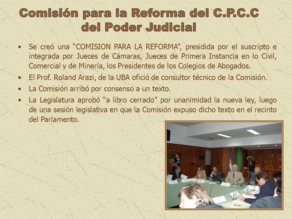 Se creó una COMISION PARA LA REFORMA, presidida por el suscripto e integrada por Jueces de Cámaras, Jueces de Primera Instancia en lo Civil, Comercial
