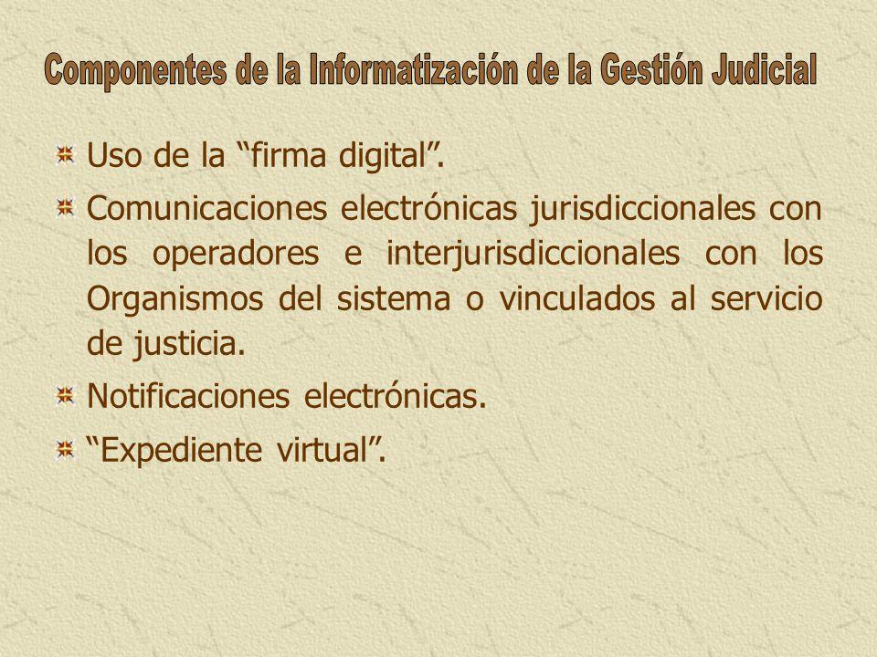 Uso de la firma digital. Comunicaciones electrónicas jurisdiccionales con los operadores e interjurisdiccionales con los Organismos del sistema o vinc
