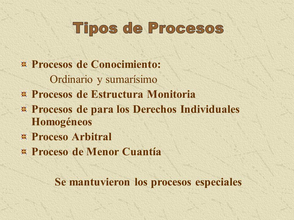 Procesos de Conocimiento: Ordinario y sumarísimo Procesos de Estructura Monitoria Procesos de para los Derechos Individuales Homogéneos Proceso Arbitr