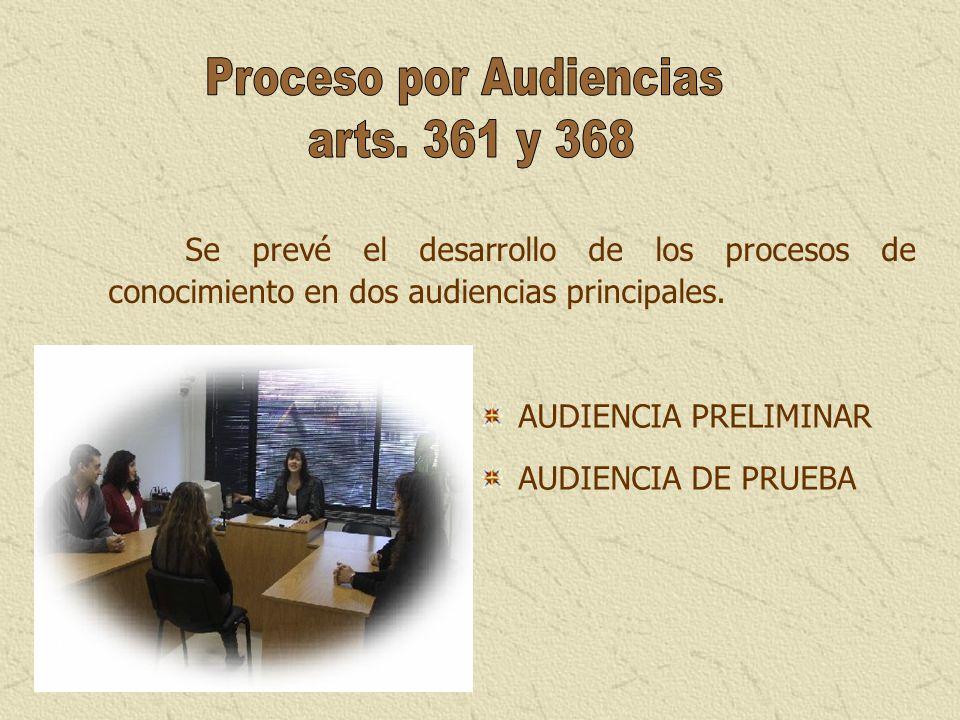 Se prevé el desarrollo de los procesos de conocimiento en dos audiencias principales. AUDIENCIA PRELIMINAR AUDIENCIA DE PRUEBA