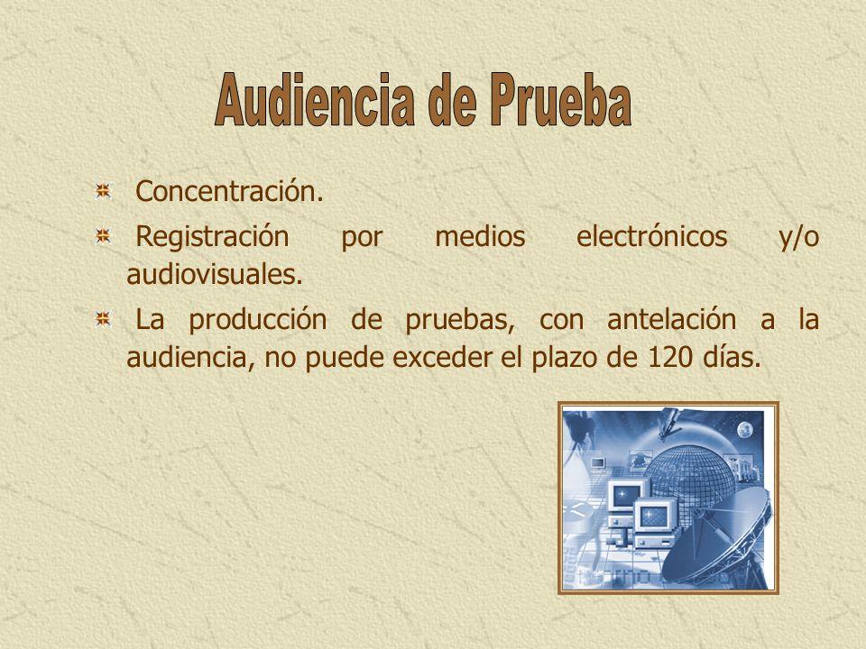 Concentración. Registración por medios electrónicos y/o audiovisuales. La producción de pruebas, con antelación a la audiencia, no puede exceder el pl