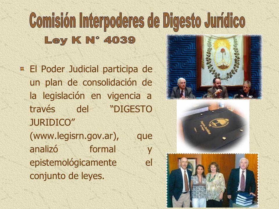 El Poder Judicial participa de un plan de consolidación de la legislación en vigencia a través del DIGESTO JURIDICO (www.legisrn.gov.ar), que analizó