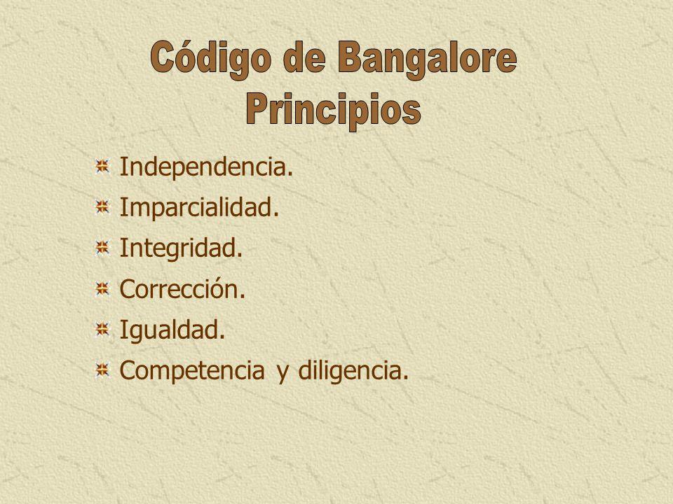 Independencia. Imparcialidad. Integridad. Corrección. Igualdad. Competencia y diligencia.