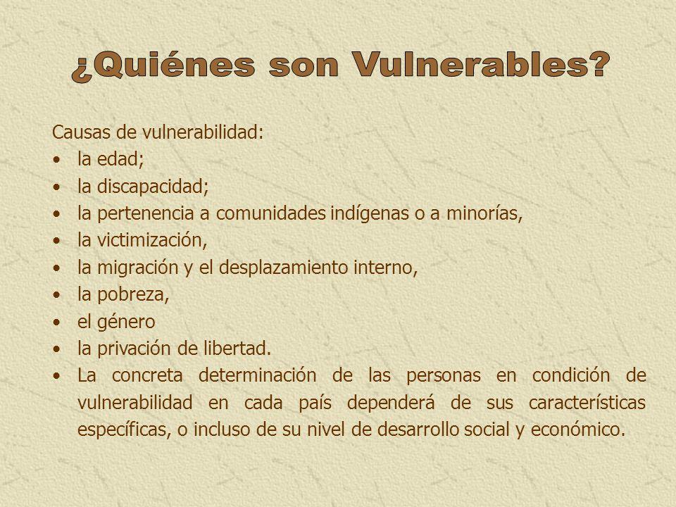 Causas de vulnerabilidad: la edad; la discapacidad; la pertenencia a comunidades indígenas o a minorías, la victimización, la migración y el desplazam