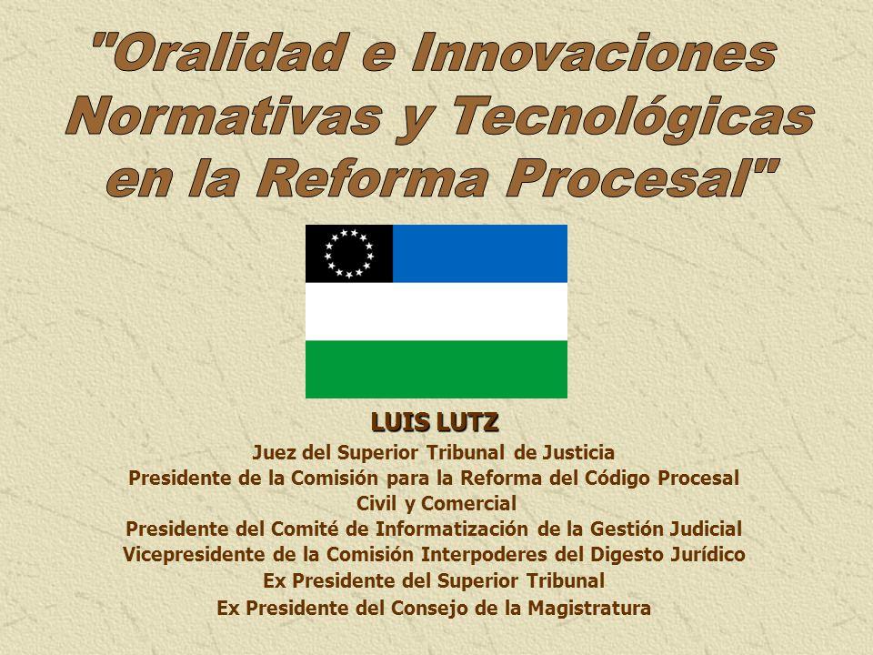 LUIS LUTZ Juez del Superior Tribunal de Justicia Presidente de la Comisión para la Reforma del Código Procesal Civil y Comercial Presidente del Comité