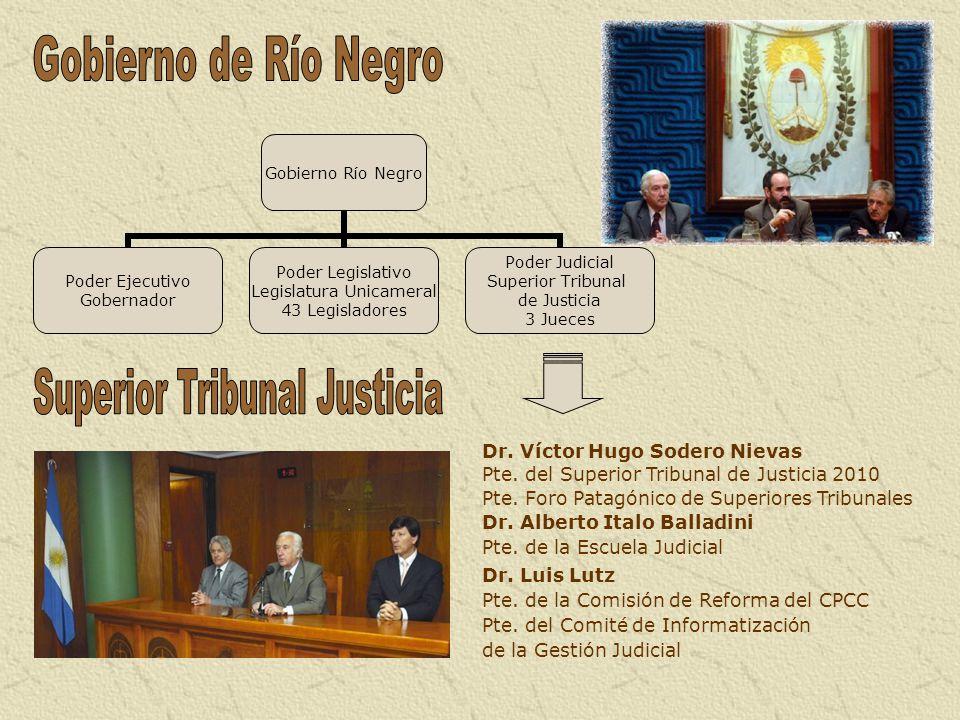 Dr. Víctor Hugo Sodero Nievas Pte. del Superior Tribunal de Justicia 2010 Pte. Foro Patagónico de Superiores Tribunales Dr. Alberto Italo Balladini Pt