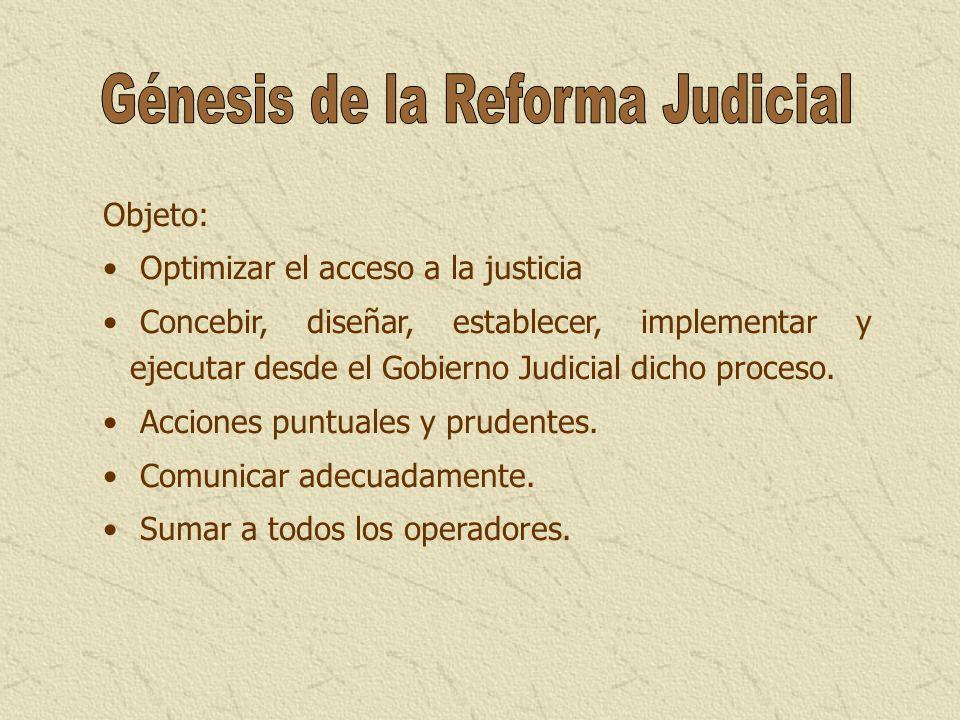 Objeto: Optimizar el acceso a la justicia Concebir, diseñar, establecer, implementar y ejecutar desde el Gobierno Judicial dicho proceso. Acciones pun