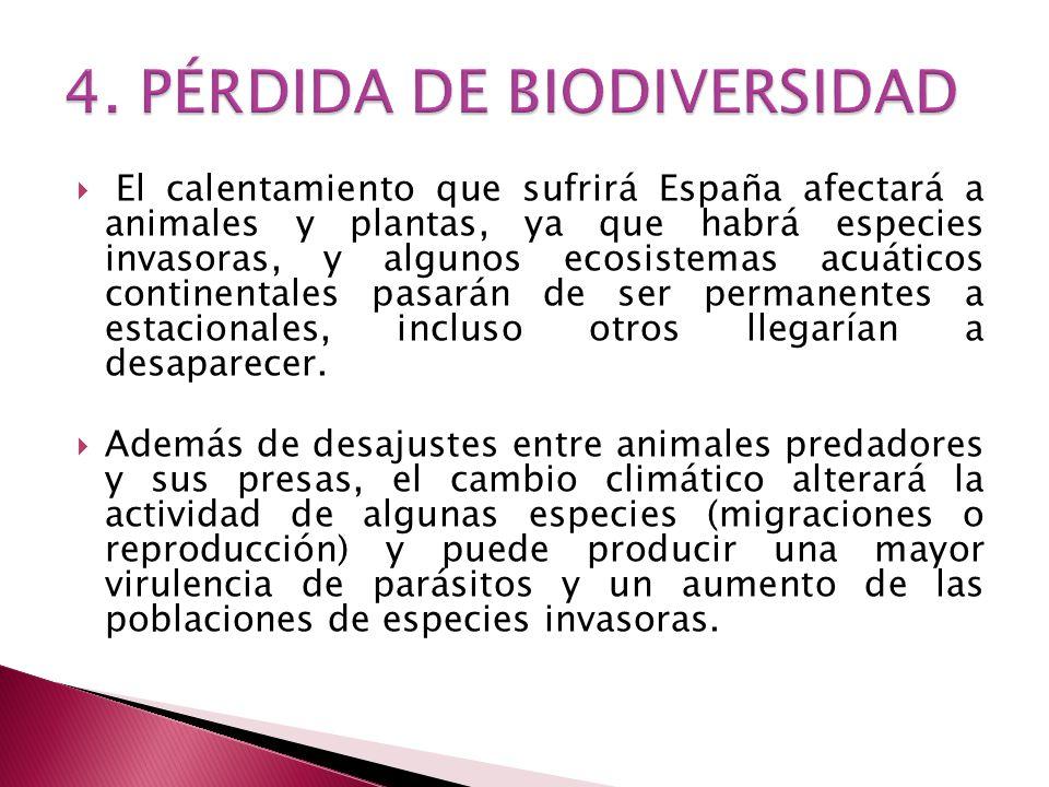 El calentamiento que sufrirá España afectará a animales y plantas, ya que habrá especies invasoras, y algunos ecosistemas acuáticos continentales pasarán de ser permanentes a estacionales, incluso otros llegarían a desaparecer.