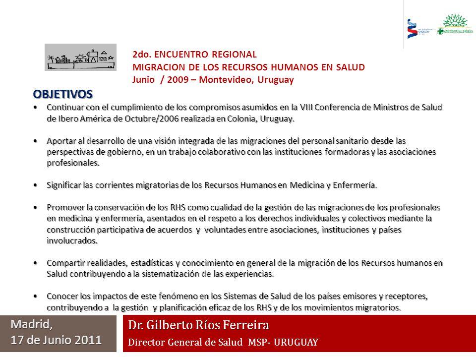Dr. Gilberto Ríos Ferreira Director General de Salud MSP- URUGUAY Madrid, 17 de Junio 2011 2do. ENCUENTRO REGIONAL MIGRACION DE LOS RECURSOS HUMANOS E