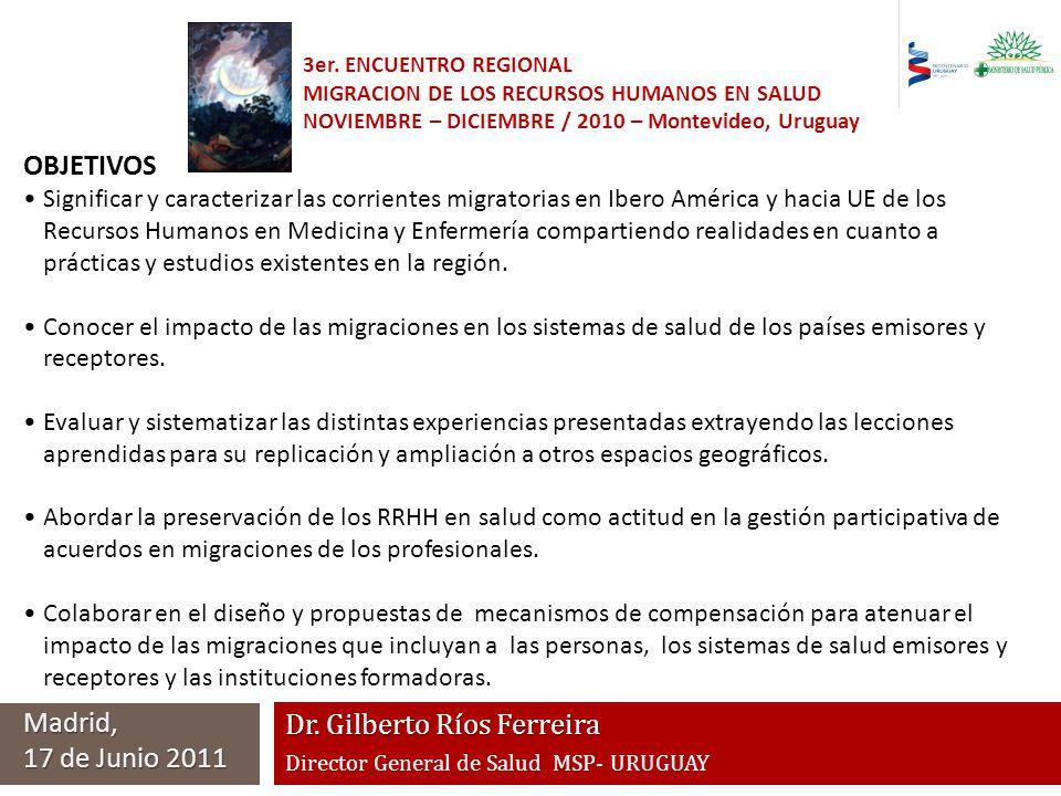 Dr. Gilberto Ríos Ferreira Director General de Salud MSP- URUGUAY Madrid, 17 de Junio 2011 3er. ENCUENTRO REGIONAL MIGRACION DE LOS RECURSOS HUMANOS E