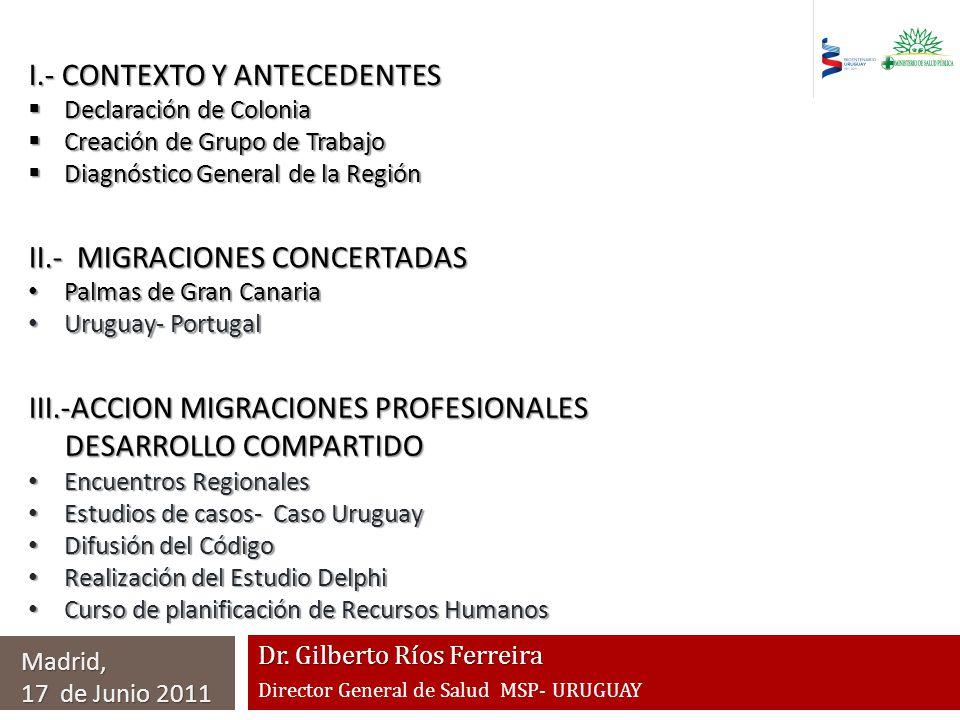 Dr. Gilberto Ríos Ferreira Director General de Salud MSP- URUGUAY I.- CONTEXTO Y ANTECEDENTES Declaración de Colonia Declaración de Colonia Creación d