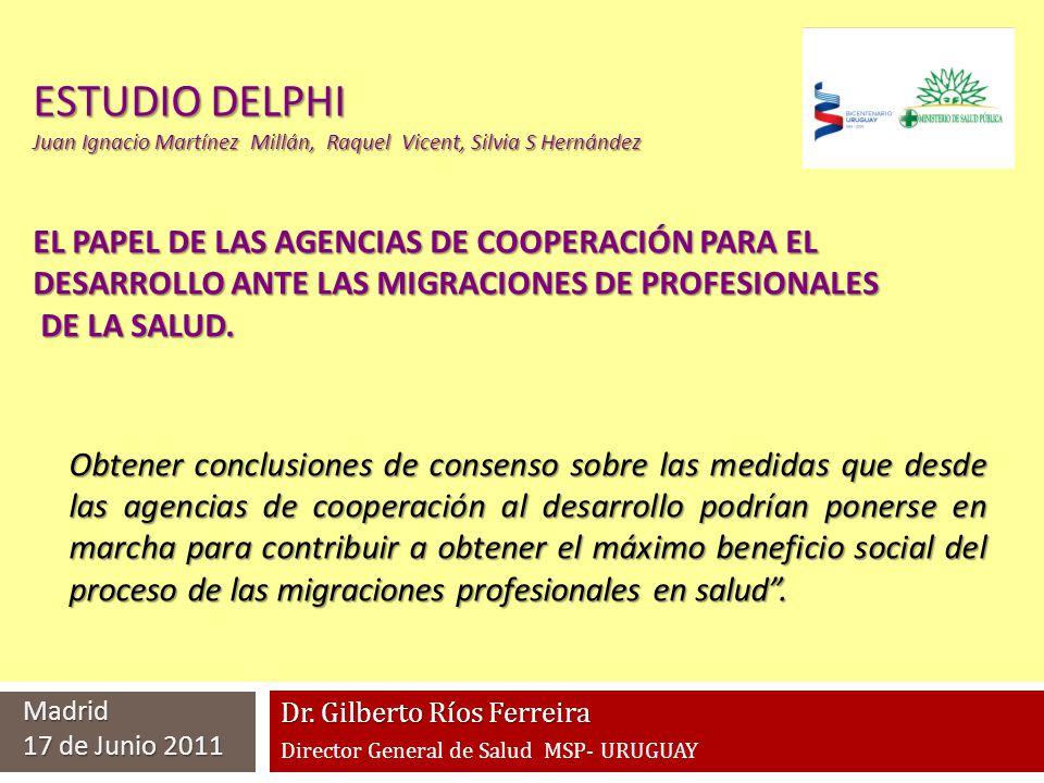 ESTUDIO DELPHI Juan Ignacio Martínez Millán, Raquel Vicent, Silvia S Hernández Obtener conclusiones de consenso sobre las medidas que desde las agenci