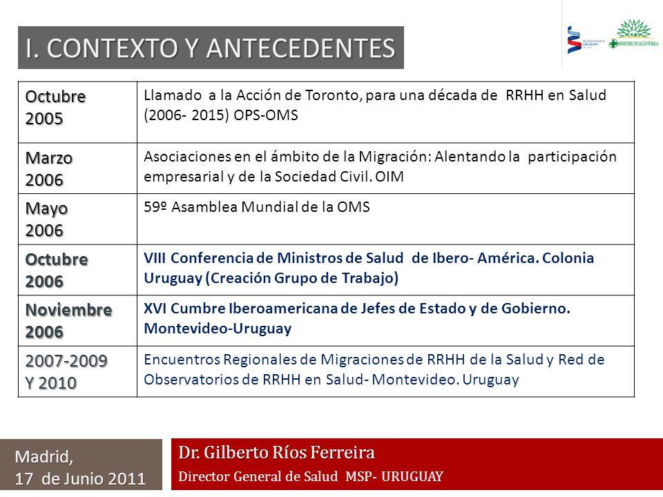 Dr. Gilberto Ríos Ferreira Director General de Salud MSP- URUGUAY Madrid, 17 de Junio 2011 Octubre2005 Llamado a la Acción de Toronto, para una década