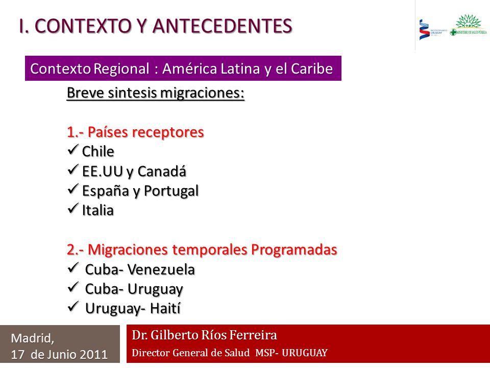 Dr. Gilberto Ríos Ferreira Director General de Salud MSP- URUGUAY I. CONTEXTO Y ANTECEDENTES Madrid, 17 de Junio 2011 Contexto Regional : América Lati