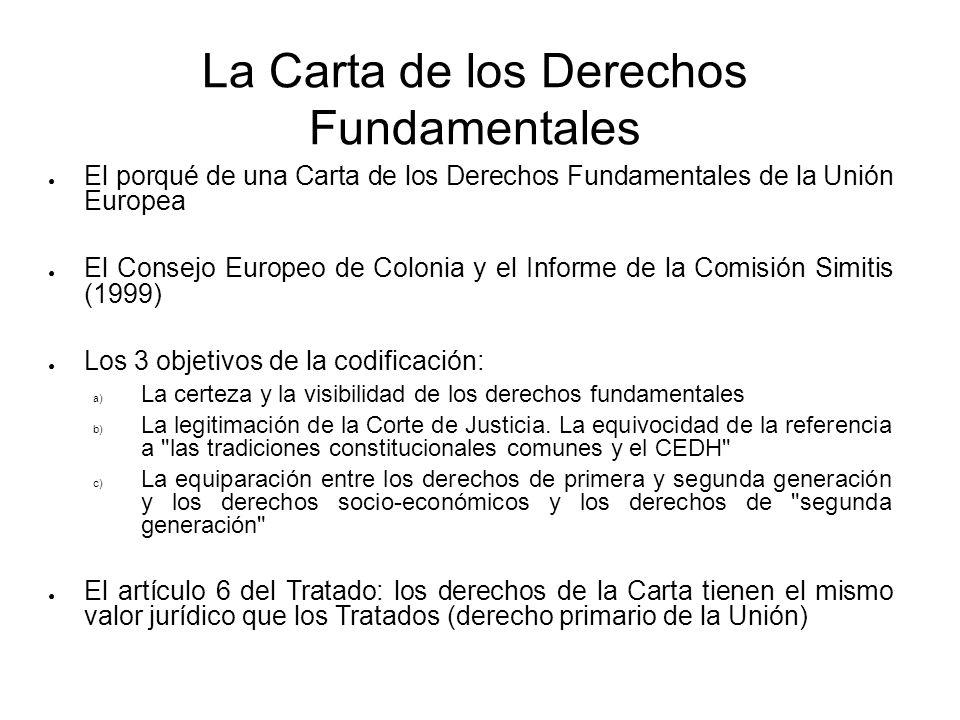 La Carta de los Derechos Fundamentales El porqué de una Carta de los Derechos Fundamentales de la Unión Europea El Consejo Europeo de Colonia y el Inf