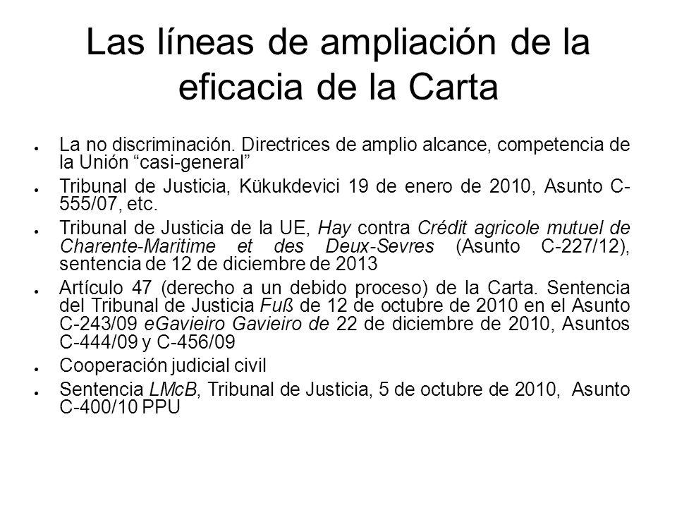 Las líneas de ampliación de la eficacia de la Carta La no discriminación. Directrices de amplio alcance, competencia de la Unión casi-general Tribunal