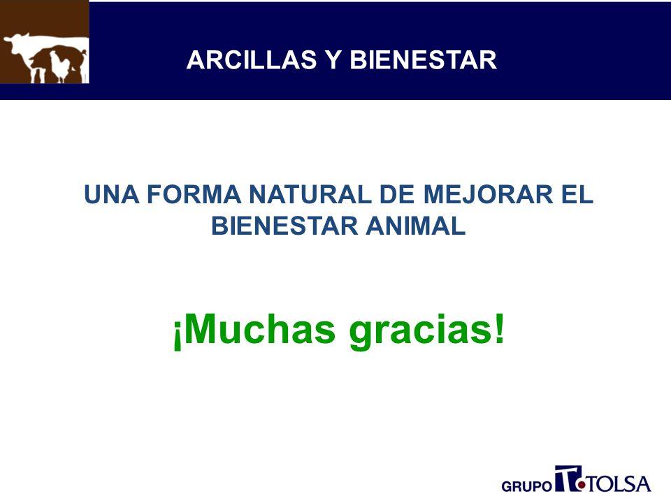 ARCILLAS Y BIENESTAR UNA FORMA NATURAL DE MEJORAR EL BIENESTAR ANIMAL ¡Muchas gracias!