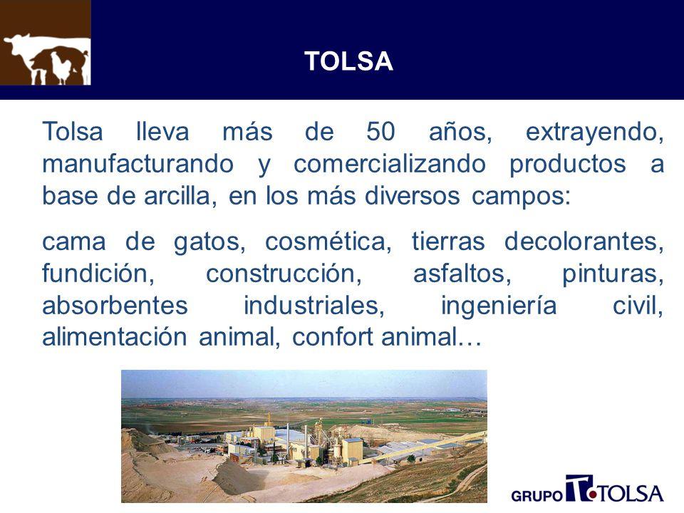 TOLSA Tolsa lleva más de 50 años, extrayendo, manufacturando y comercializando productos a base de arcilla, en los más diversos campos: cama de gatos, cosmética, tierras decolorantes, fundición, construcción, asfaltos, pinturas, absorbentes industriales, ingeniería civil, alimentación animal, confort animal…