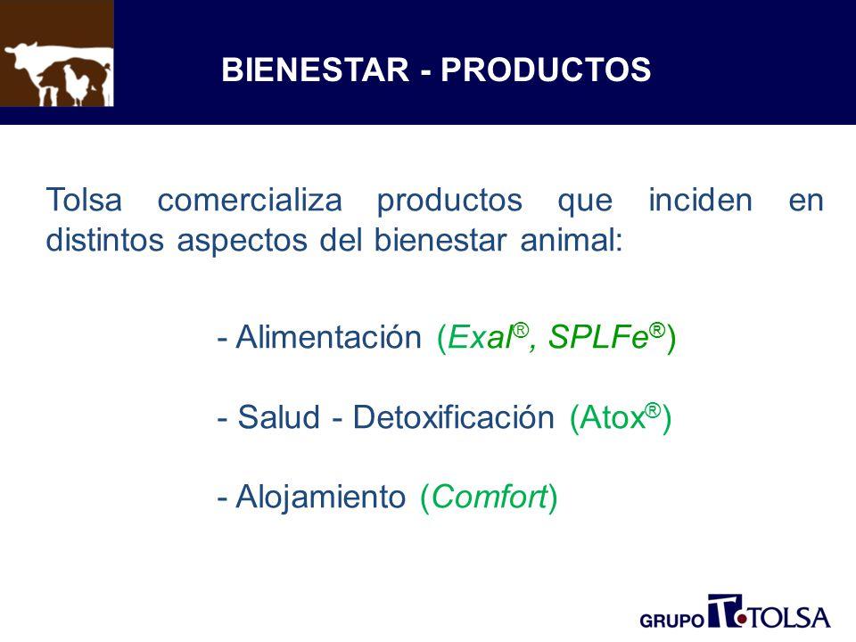 BIENESTAR - PRODUCTOS Tolsa comercializa productos que inciden en distintos aspectos del bienestar animal: - Alimentación (Exal ®, SPLFe ® ) - Salud - Detoxificación (Atox ® ) - Alojamiento (Comfort)