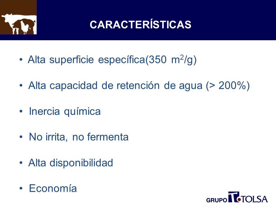 CARACTERÍSTICAS Alta superficie específica(350 m 2 /g) Alta capacidad de retención de agua (> 200%) Inercia química No irrita, no fermenta Alta dispon