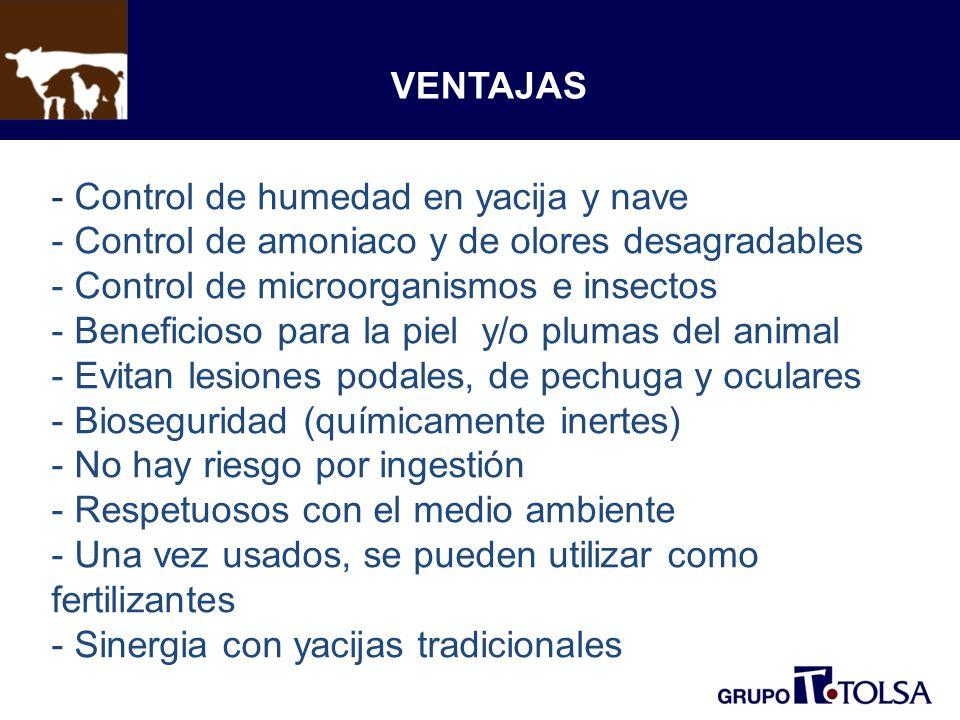 VENTAJAS - Control de humedad en yacija y nave - Control de amoniaco y de olores desagradables - Control de microorganismos e insectos - Beneficioso para la piel y/o plumas del animal - Evitan lesiones podales, de pechuga y oculares - Bioseguridad (químicamente inertes) - No hay riesgo por ingestión - Respetuosos con el medio ambiente - Una vez usados, se pueden utilizar como fertilizantes - Sinergia con yacijas tradicionales