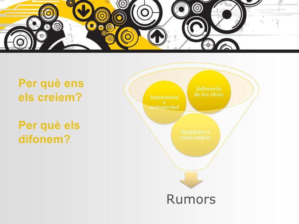 Rumors Prejuicios y estereotipos Importancia y ambigüedad Influencia de los otros Per què ens els creiem? Per què els difonem?