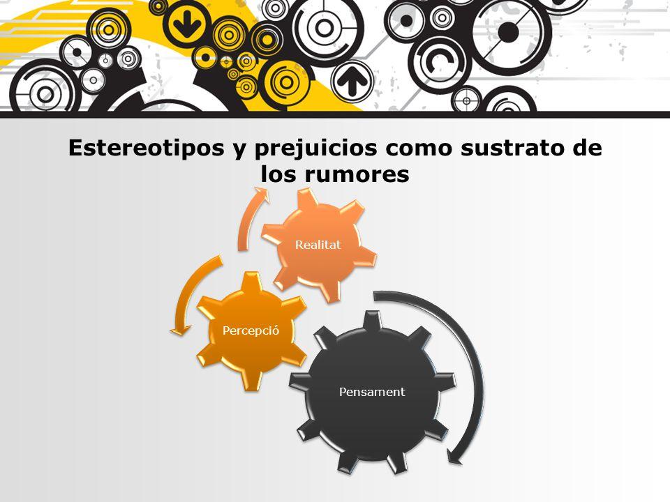 Pensament Percepció Realitat Estereotipos y prejuicios como sustrato de los rumores