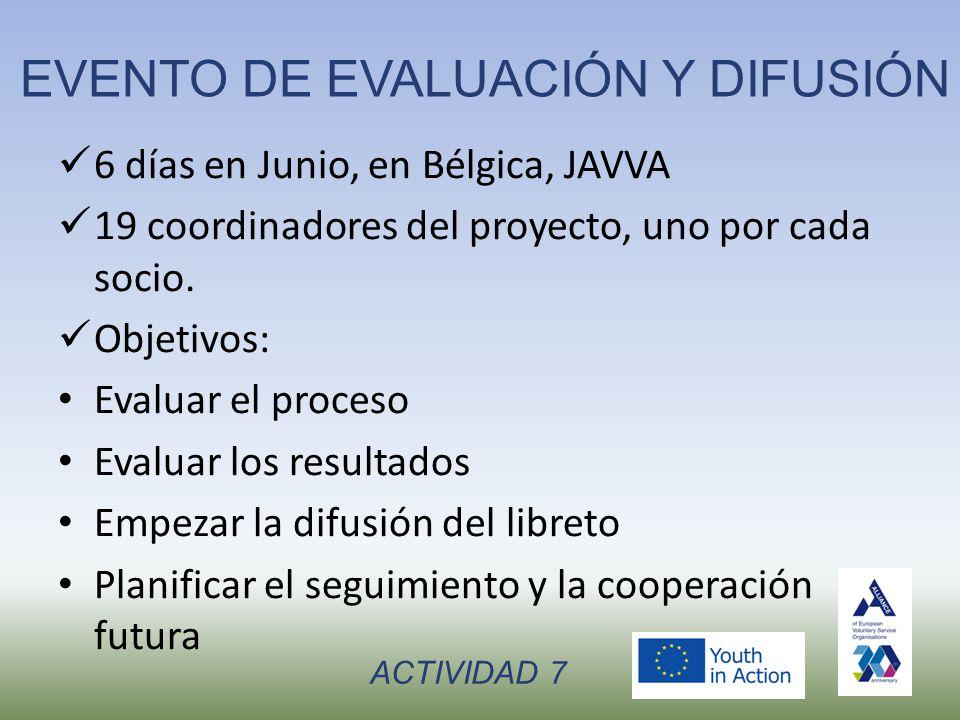 EVENTO DE EVALUACIÓN Y DIFUSIÓN 6 días en Junio, en Bélgica, JAVVA 19 coordinadores del proyecto, uno por cada socio.