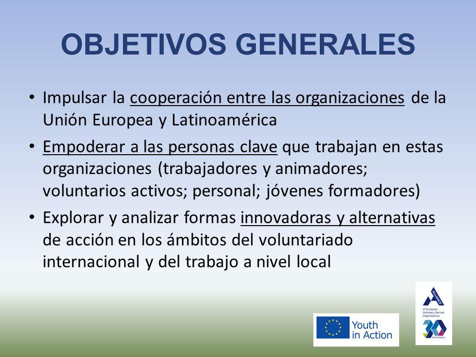 OBJETIVOS GENERALES Impulsar la cooperación entre las organizaciones de la Unión Europea y Latinoamérica Empoderar a las personas clave que trabajan en estas organizaciones (trabajadores y animadores; voluntarios activos; personal; jóvenes formadores) Explorar y analizar formas innovadoras y alternativas de acción en los ámbitos del voluntariado internacional y del trabajo a nivel local