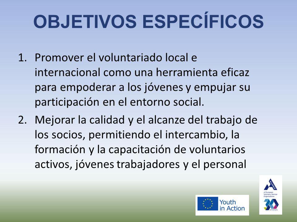OBJETIVOS ESPECÍFICOS 1.Promover el voluntariado local e internacional como una herramienta eficaz para empoderar a los jóvenes y empujar su participación en el entorno social.