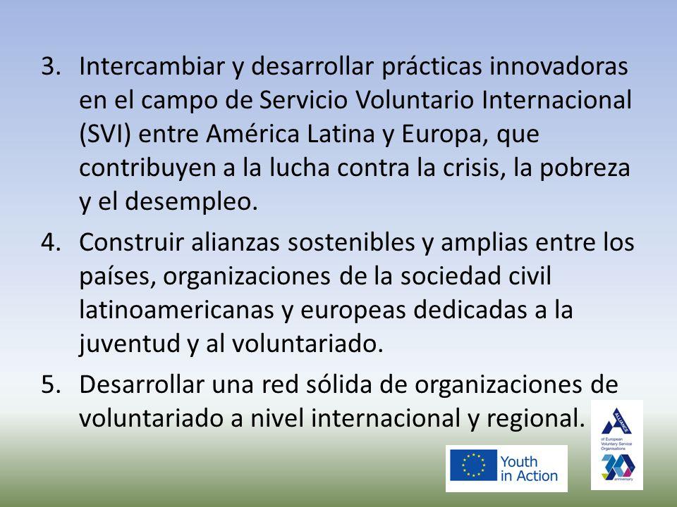 3.Intercambiar y desarrollar prácticas innovadoras en el campo de Servicio Voluntario Internacional (SVI) entre América Latina y Europa, que contribuyen a la lucha contra la crisis, la pobreza y el desempleo.