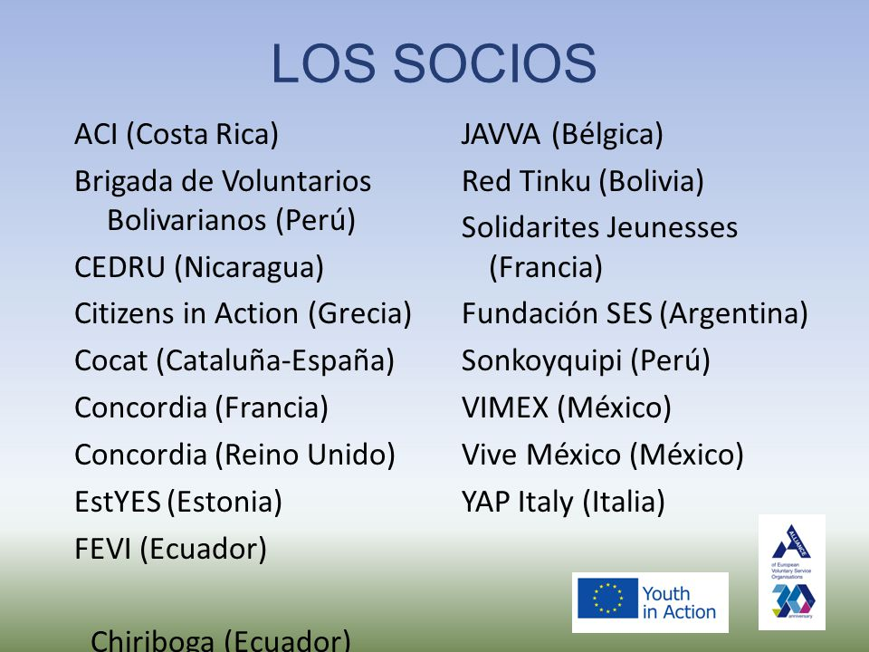 LOS SOCIOS ACI (Costa Rica) Brigada de Voluntarios Bolivarianos (Perú) CEDRU (Nicaragua) Citizens in Action (Grecia) Cocat (Cataluña-España) Concordia (Francia) Concordia (Reino Unido) EstYES (Estonia) FEVI (Ecuador) Chiriboga (Ecuador) JAVVA (Bélgica) Red Tinku (Bolivia) Solidarites Jeunesses (Francia) Fundación SES (Argentina) Sonkoyquipi (Perú) VIMEX (México) Vive México (México) YAP Italy (Italia)