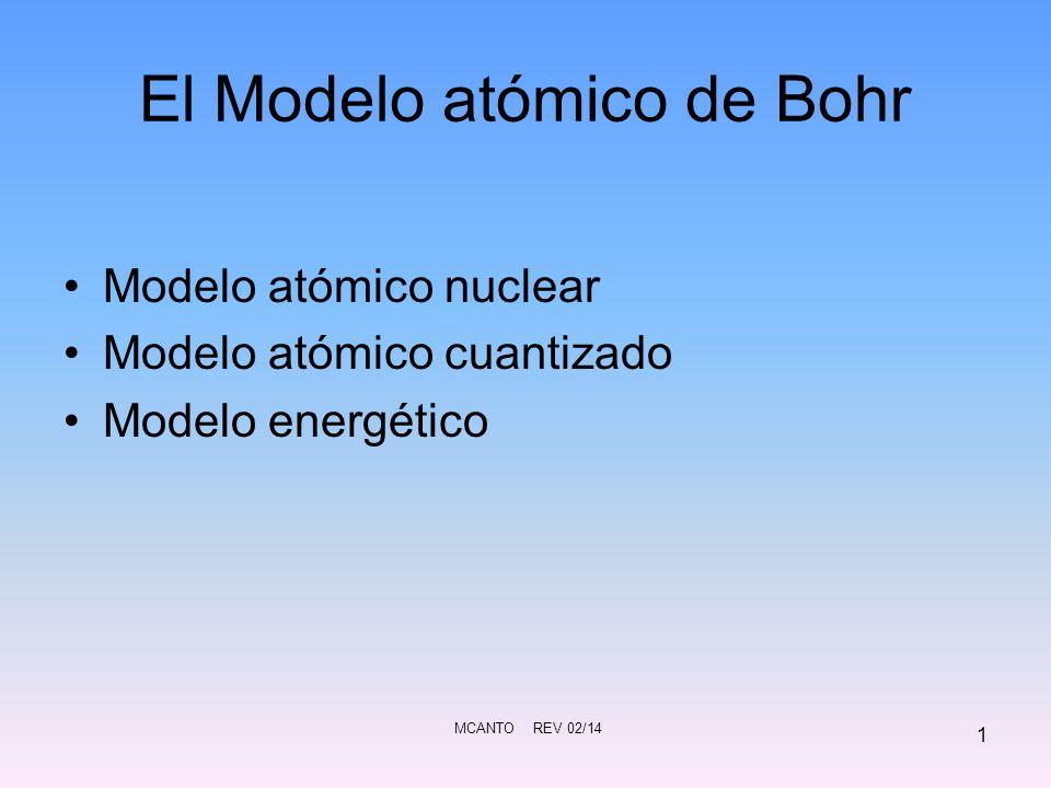MCANTO REV 02/14 12 Tercer Postulado: Cuando un electrón pasa de una órbita externa a otra mas interna, la diferencia de energía entre ambas órbitas se emite en forma de radiación electromagnética: ΔE = h f = h c / λ Serie de Balmer ¿recuerdas.