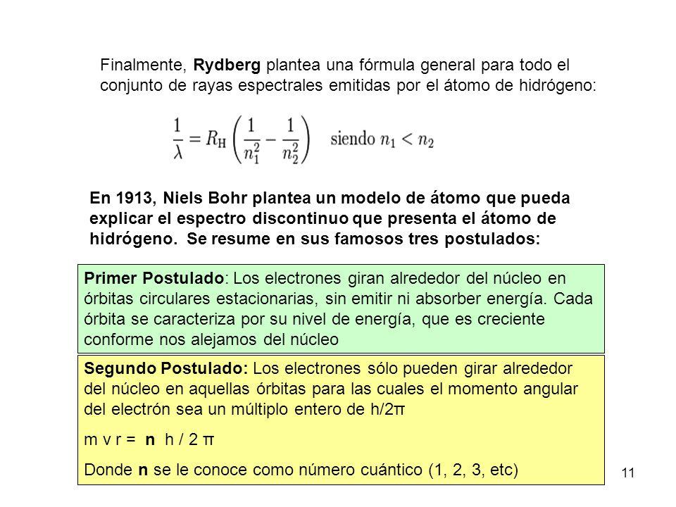 MCANTO 2011 - 201211 Finalmente, Rydberg plantea una fórmula general para todo el conjunto de rayas espectrales emitidas por el átomo de hidrógeno: En